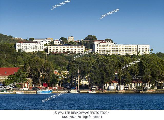 U. S. Virgin Islands, St. Thomas, Charlotte Amalie, Bluebeards Castle Hotel, dusk
