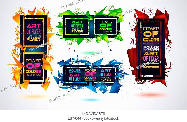 Futuristic Frame Art Design with Abstract shapes and drops of colors behind the space for text. Modern Artistic flyer or party thai background