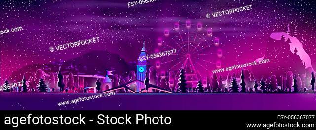 City amusement park, winter resort cartoon night landscape in neon colors. Illuminated buildings, clock tower, Ferris wheel on seashore surrounded snow-capped...
