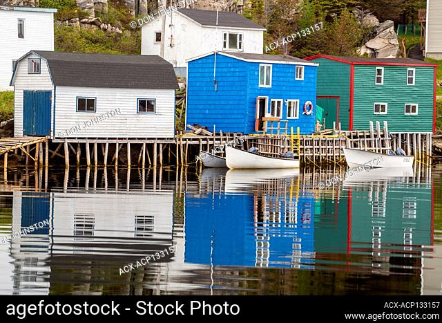 Colourful houses overlooking inner harbour of Rose Blanche, with moored fishing boats, Rose Blanche, Newfoundland and Labrador NL, Canada