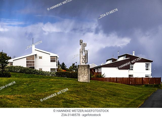 Hallsteinn Sigurosson's statue 'Madur og Kona' at Seltjarnarnes park in Reykjavik, Iceland