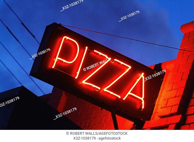 A neon pizza sign against a night sky
