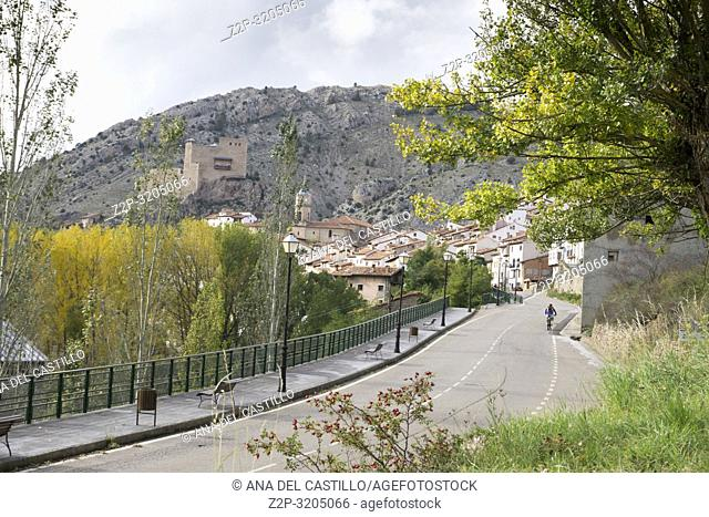 Autumn poplars in Alcala de la Selva village Teruel Aragon Spain