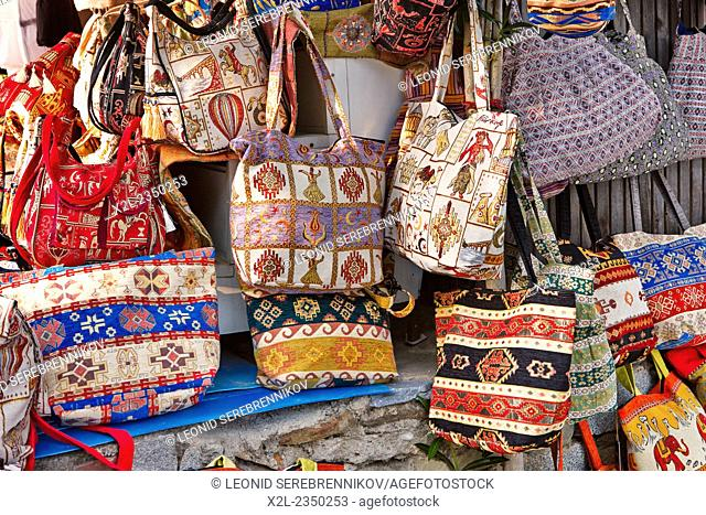 Bags displayed at local market. Sirince village, Izmir Province, Turkey