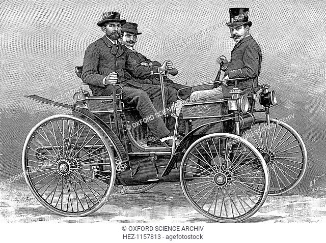 Armand Peugot's first motor car, 1890. Fitted with a Daimler V-twin engine, this was the first petrol-driven car built in France