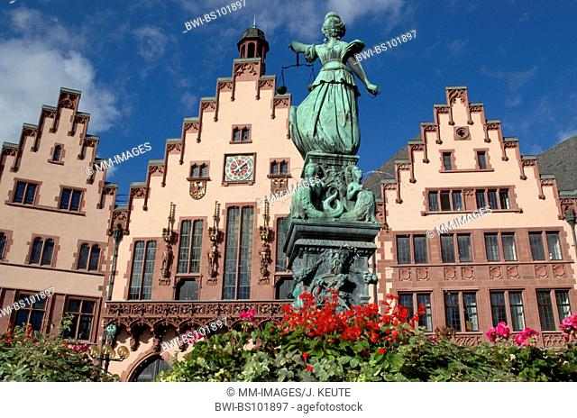 Lady Justice on the Fountain of Justice in Frankfurt, Roemer, Germany, Hesse, Frankfurt/Main