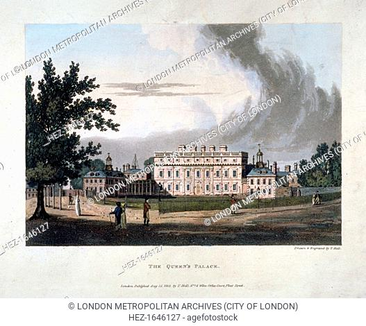 Buckingham House, Westminster, London, 1803. Buckingham House was reconstructed as Buckingham Palace in the 1820s