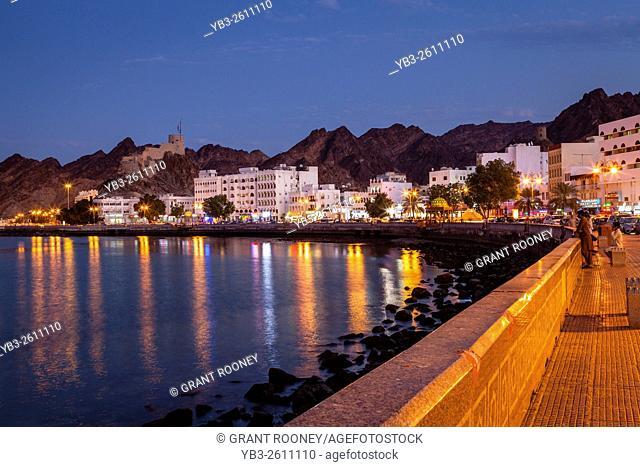 The Corniche (Promenade) At Night, Muttrah, Muscat, Sultanate Of Oman