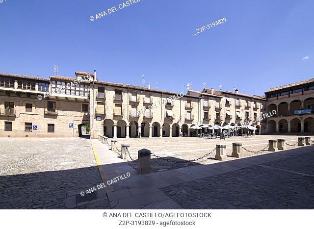 Main square in Siguenza is a medieval village in Guadalajara Castile La Mancha Spain