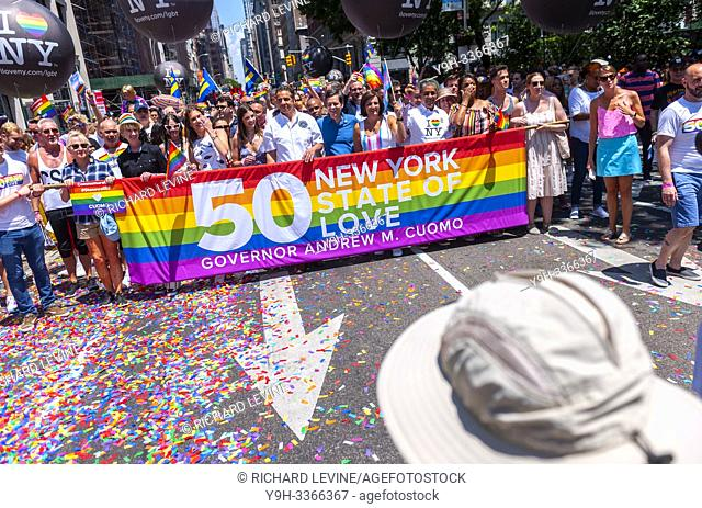 New York State Governor Andrew Cuomo with family joins 150,000 marchers and millions of spectators at the Stonewall 50/ World Pride Parade in New York on Sunday