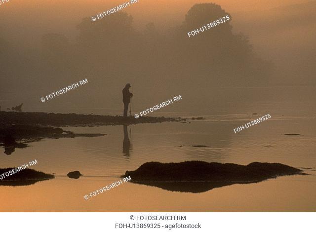 river, fisherman, white, morning, early, lone