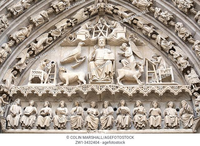 Tympanum showing Jesus as Pantocrator showing the Book of the Law, Facade of the Sarmental, Cathedral of Saint Mary of Burgos (UNESCO World Heritage Site)