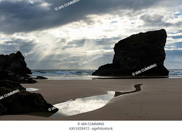 Beach at Bedruthan Steps; Cornwall, England
