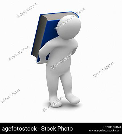 Man carrying blue hardcover book