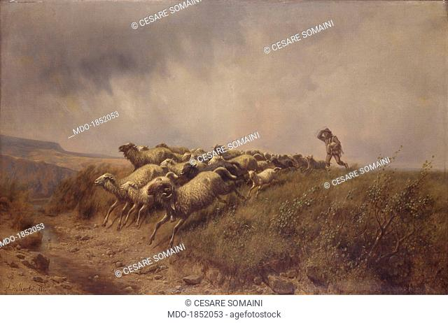 Escape from the storm (Fuga dal temporale), by Andrea Markò, 1885, 19th century, oil on canvas. Italy, Lombardy, Milan, Brera Collection