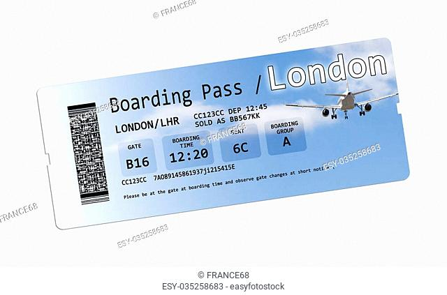 Airline boarding pass tickets to London isolated on white.Each element of the ticket is invented. Every symbol, every code, every ID number, are invented