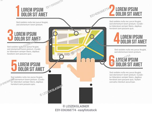 Tablet with map infographic vector illustration