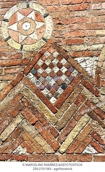 Brickwork Detail, Church of the Holy Sepulchre, Santo Stefano basilica, Bologna, Emilia-Romagna, Italy, Europe