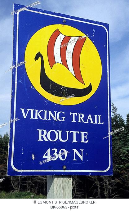 Road sign of the Viking Trail, Newfoundland