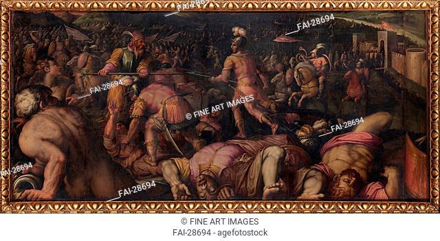 The Battle against Radagaisus at Faesulae in 406 by Vasari, Giorgio (1511-1574)/Oil on wood/Mannerism/1563-1565/Italy, Florentine School/Palazzo Vecchio