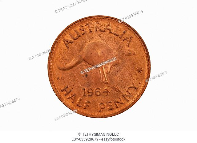 A pre-decimal Australian half penny isolated on a white background