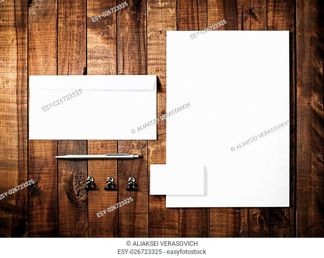 Blank stationery template for branding identity for designers. Blank stationery set on vintage wooden table background. Mock-up for branding identity for...