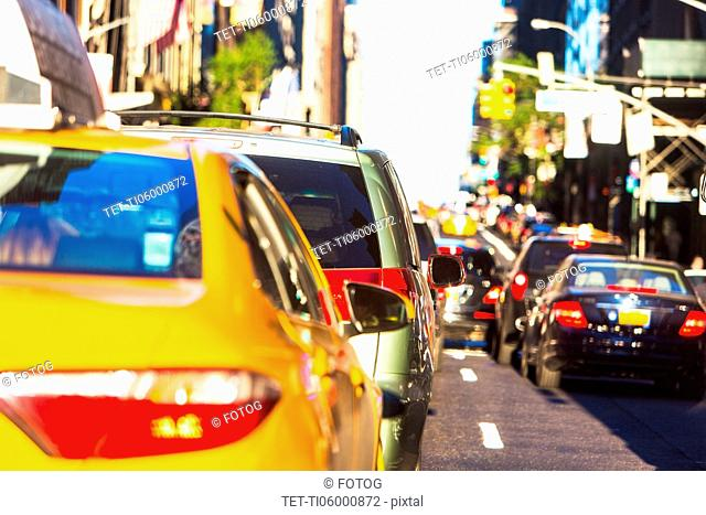USA, New York, Car traffic in big city