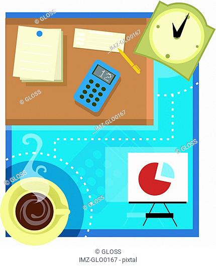 Collage of an office scene with stationery, coffee, pie chart and clock