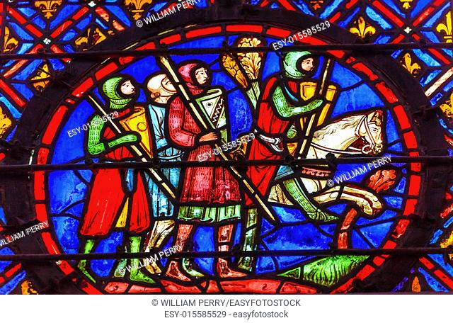 Knights Horse Medieval Life Stained Glass Saint Chapelle Paris France. Saint King Louis 9th created Sainte Chapelle in 1248 to house Christian relics
