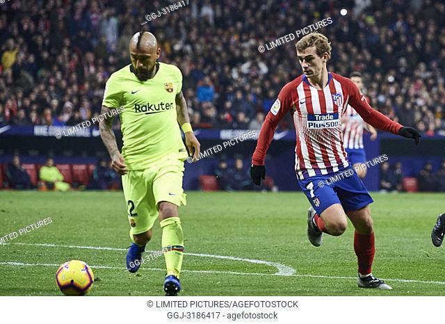 Arturo Vidal (midfielder; Barcelona), Antoine Griezmann (forward; Atletico Madrid) before La Liga match between Atletico de Madrid and F.C