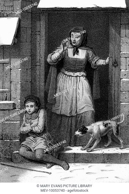 A lady is astonished to find a child sheltering from the snow on her doorstep ; her dog is no less surprised