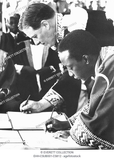 A negotiated settlement established on the status of Buganda within the nation of Uganda. Oct. 23, 1955. Uganda's British Governor, Sir Andrew Cohen