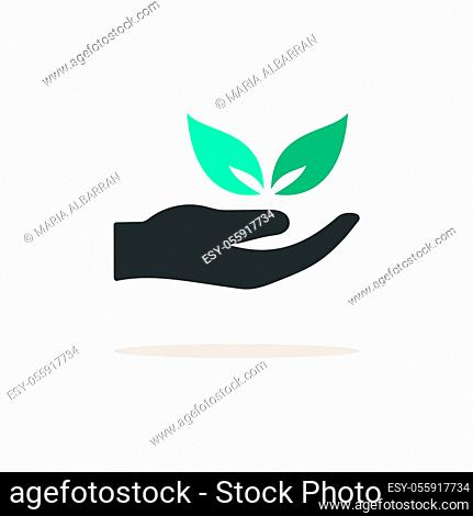 Hand and leaves. Icon with shadow on a beige background. Pharmacy flat vector illustration