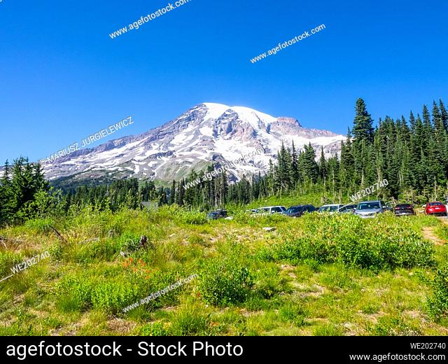 Paradise is the name of an area at approximately 5, 400 feet (1, 600 m) on the south slope of Mount Rainier in the national park