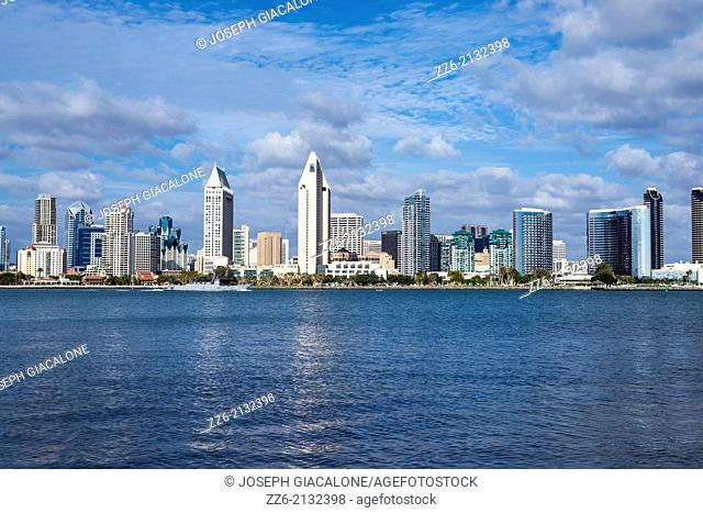 San Diego Skyline and Harbor. Photographed from Coronado, California, United States