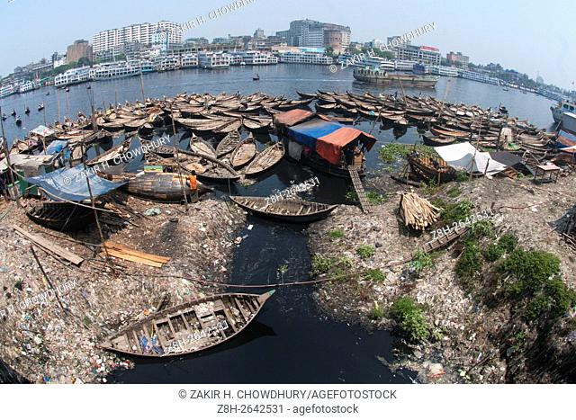 DHAKA, BANGLADESH - APRIL 08 : Wide view of extremely polluted Buriganga river in Dhaka, Bangladesh on April 08, 2016. . Now a days it's hard to cross the river...