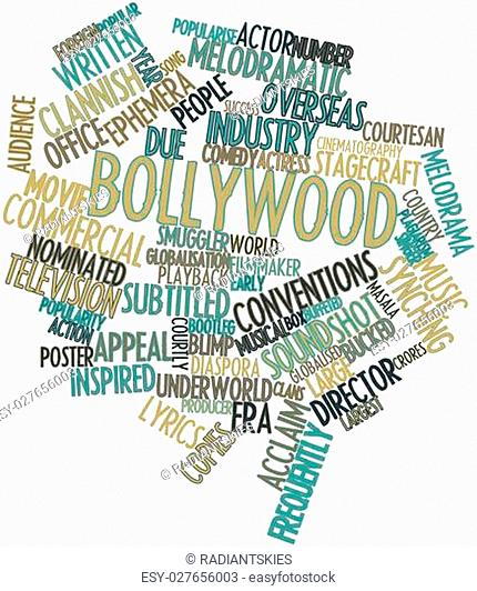 Abstract word cloud for Bollywood with related tags and terms