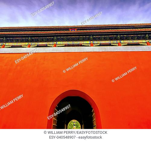 Duanmen Upright Gate Gugong Forbidden City Palace Wall Beijing China. Emperor's Palace Built in the 1600s in the Ming Dynasty