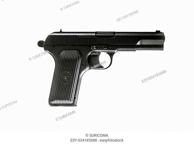Photo of soviet gun isolated on white. TT pistol