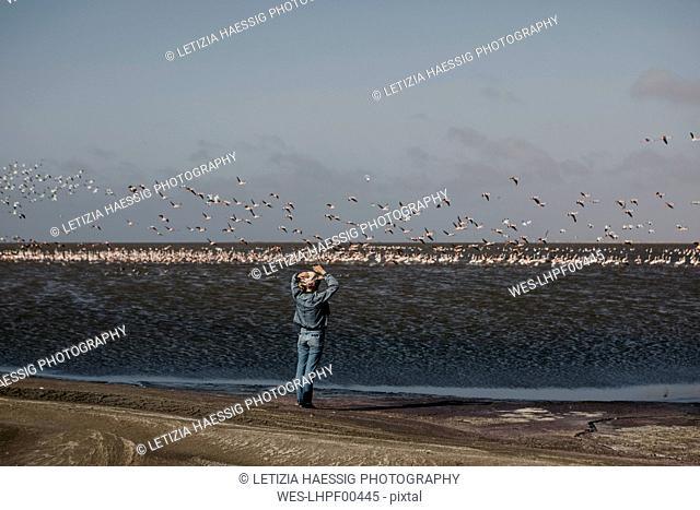 Namibia, Walvis Bay, Namib-Naukluft National Park, woman at the coast looking at colony of flamingos