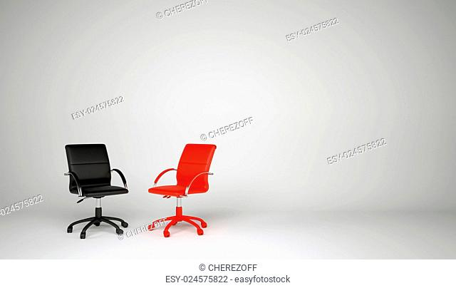 Two office chairs on a gray background. Black and red chair. The concept of dialogue