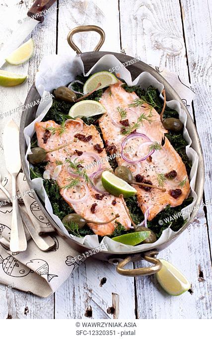Salmon trout on kale
