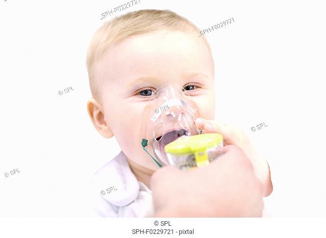 Baby using nebuliser