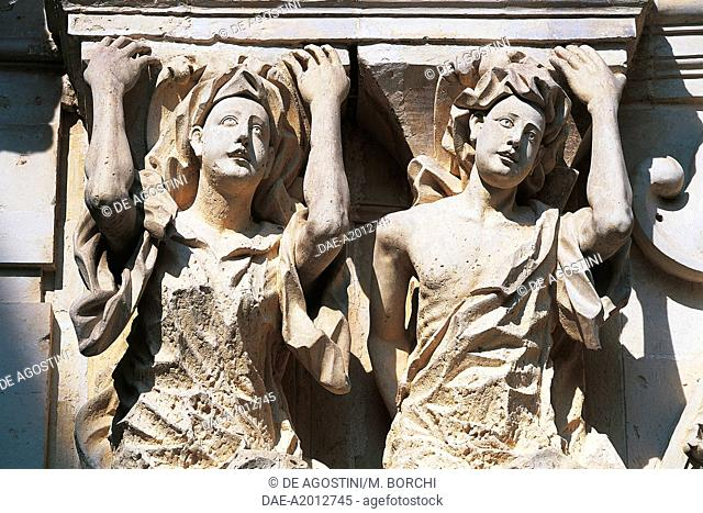 Two caryatids, portal of Marrese Palace, Lecce, Salento, Apulia, Italy, 18th century, detail