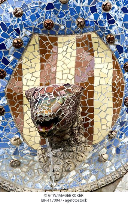 Painted tiles, Park Gueell, Antonio Gaudi architect, Unesco World Heritage Site, Gracia District, Barcelona, Catalonia, Spain, Europe