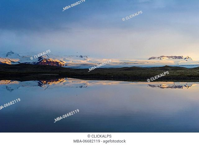 Jokulsarlon, southern Iceland. Reflections of the Vatnajokull glacier