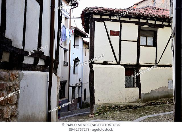 Framework houses in the center of Covarrubias, Burgos, Spain