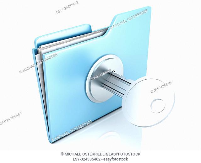 A locked Folder. 3D illustration