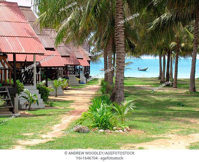 Budget bungalows at Hat Rin Nok beach Ko Pha Ngan island Thailand