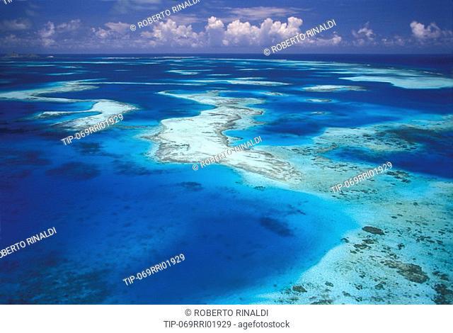 Venezuela, Los Roques, aerial view of Arrecifal del Este barrier reef